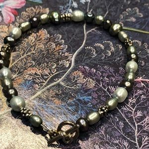 Casey Keith Design Jewelry - Green Pearl & Nuggets Toggle Clasp Bracelet